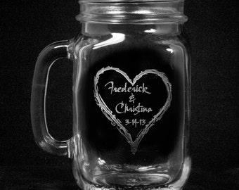 Wedding Mason Jar Mugs with Handle, Country Wedding Favors, Set of 2 (heartmason)