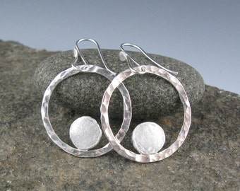 Hammered Sterling Silver Circle Dot Earrings-Handmade