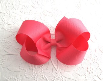 """5"""" Extra Large Hair Bow, Coral Rose Hair Bow, Girls Hair Bows, Hair Bow, Boutique Hair Bow, Big Hair Bows, No Slip Hair Bow, Large Coral Bow"""