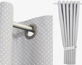 Baby Drapes-Grey Nursery Curtains-Gender Neutral Nursery Curtains-Polka Dot Curtains-Toddler Curtains Gray with Blackout. Custom Sizes.