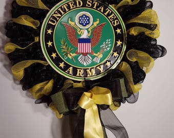 Army wreath, Patriotic, Army, Military, Deco Mesh