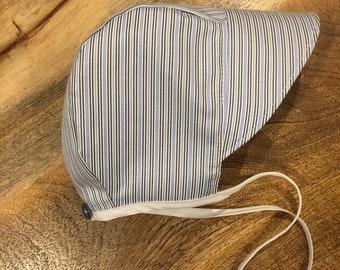 Brimmed Bonnet, Blue Striped Bonnet, Cotton Baby Bonnet, Traditional Bonnet, Gender Neutral Baby, Sun Hat with Ties, Baby Bonnet, Photo Prop