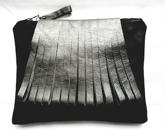 Fringed! Black Leather Clutch/Purse by TamuCreations