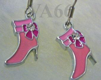 Pink High Heel Stilleto Shoe Earrings with Bow n Rhinestone