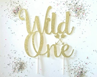 Wild one, cake topper, Gold glitter cake topper, 1st birthday, happy birthday, party ideas, first birthday, smash cake, kids birthday, one