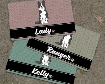 Personalized BORDER COLLIE Placemat - DOGBREED Themed Placemat - Dog Mat - Pet Food Mat - Rubber Placemat
