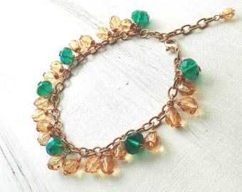 Green Emerald and yellow woman bracelet, handcrafted bijoux with glass beads, gifts for you handmade