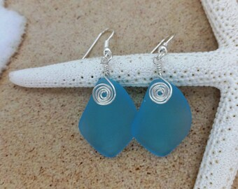 Pastel Aqua Blue Sea Glass Earrings Seaglass Earrings Sea Glass Jewelry Beach Glass Earrings Beach Jewelry Seaglass Jewelry Ocean Jewelry 79