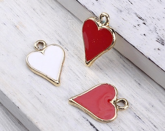 """10 charms """"Heart"""" enameled metal Golden 1,7 cm / Poker / playing cards"""