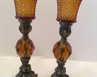 Amber and Brass Candlestick Holders with Votive Shades ~ Set of Two ~ Shabby Chic ~ Vintage