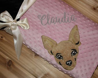 Chihuahua- Personalized Minky Baby Blanket - Pink / Black Minky - Embroidered Chihuahua