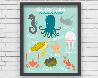 Nautical Home Decor Nautical Nursery Wall Art - Sea Creatures Art Print - 8x10 or 11x14