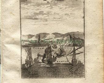 "1719 Manesson Mallet ""Sale"" Salé, Rabat, Morocco, North Africa, Ships, Port View, Antique Print"