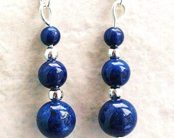 Lapis Lazuli Gemstone Earrings with Sterling Silver Hooks New Drops LB24