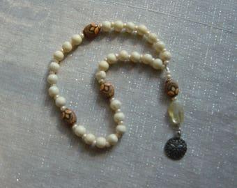 Meditation Beads — Bone and Resin beads with sand dollar charm