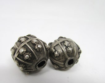 Pair Antique Yemeni Silver Beads