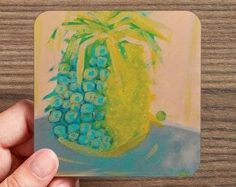 Aloha Tropical Pineapple Drink Coaster Art Coaster Yellow Blue Bar Ware Dining Room Decor