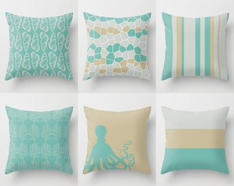 Coastal Pillow Covers, Throw Pillow Covers, Seaside Collection