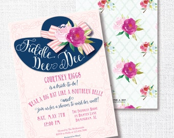 Wear a Hat Bridal Shower Invitation, Printable, Southern Belle Invite, Brunch Wedding Luncheon , Fiddle Dee Dee, Tea Party, Pink and Navy