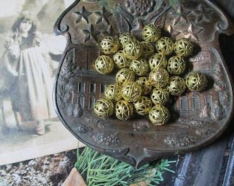 Raw Brass 8mm Ornate filigree Beads Slight Patina 18Pcs. U. S. Made
