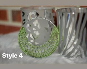 Whisper Catchers Handmade Crochet Hoop Earrings Styles 4, 5 & 6 out of 6!