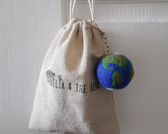 Needle felted Planet keyring & pouch, planet keychain, cute gift, handmade, wool planet, craft, planet earth, globe keychain, gift for her