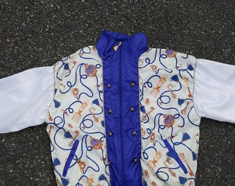 Vtg Casual Isle 90s Windbreaker Baroque Style Track suit Jacket sz Med