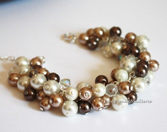 Cluster Pearl Bracelet Chocolate Brown Taupe and Ivory Bridesmaid Gifts Chunky Bracelet Pearl Cluster Bracelet Bridesmaid Bracelet