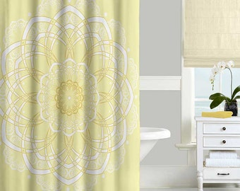 Yellow Shower Curtain, Bohemian Shower Curtain, Mandala Shower Curtain, Bath Curtain, Modern Bathroom Curtains, Bathroom Decor 71x74
