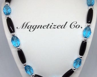 Aqua Blue / Black Tube Necklace