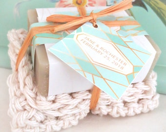 24 Custom Soap and Washcloth Kit Wedding Favors Geometric Collection