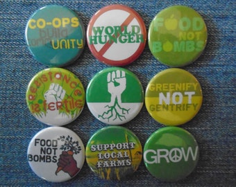 """Resistance Is Fertile 1.25"""" Pin back buttons Set of 9 Different Eco-activist badges.  Support local farms, co-ops, farmers market, gift set"""