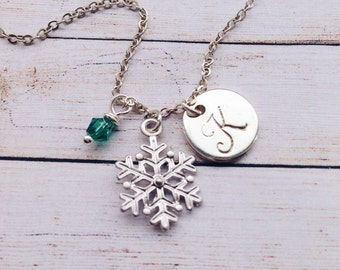 Personalized Snowflake Necklace / Silver Snowflake Jewelry / Winter Bridesmaid Necklace Winter Wedding Jewelry