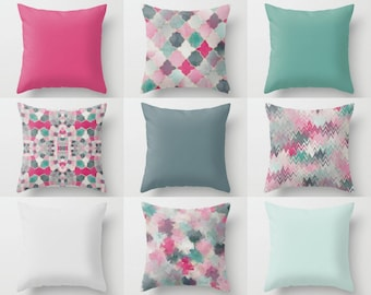 Outdoor Pillows, Pink Green Mint Teal, Outdoor Home Decor, Outdoor Throw Pillows