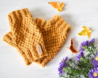 Yellow Alpaca Mittens - Mustard Fingerless Gloves, Yellow Fingerless Mitts, Alpaca Gloves, Mustard Gloves, Design by Drops