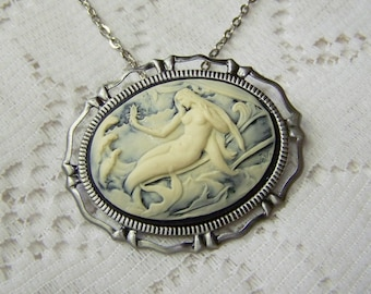 Siren of the Sea Pendant - Adult Mermaid Necklace -  Victorian Art Nouveau Theme Brooch Pin Necklace combination - Under the Sea