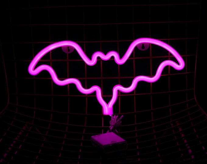 Acrylic Pink Neon BAT Light - USB/Battery