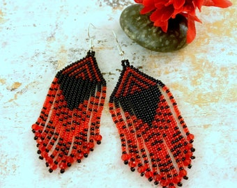 Red fringe earrings, Long Fringe Earrings. Beaded earrings, Gift for her, Holiday gifts, Seed bead earrings, Nickel free, Red and Black