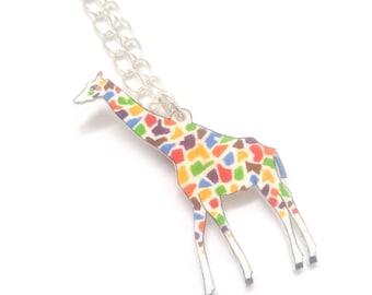 Giraffe Necklace, Handmade, Jewellery, Animal, Jewelry, Wearable Art, Shrink Plastic jewelry, Giraffe Pendant, Birthday Gift, rainbow