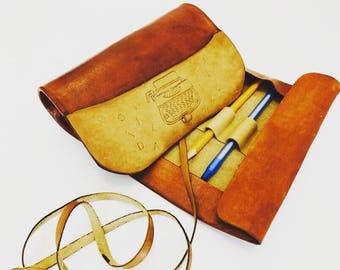 Handmade leather pencil case-21cmx35cm
