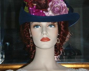 SPECIAL ORDER - Kentucky Derby Hat, Ascot Edwardian Hat, Downton Abbey Hat, Sherlock Holmes, Women's Hat - Assorted Colors - Irene Adler