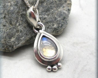 Rainbow Moonstone Necklace, Teardrop Cabochon, Gemstone Pendant, Sterling Silver, June Birthstone, June Birthday Gift for Her, Pear Shape