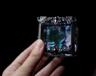 Glass Box, square ring box, geometric glass box, stained glass box, wedding ring box, ring box, ring holder, jewelry box, magic,
