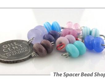 CHILDHOOD DREAMS Purple Blue Pink Bead PAIRS Lampwork Spacers Glass Handmade - The Spacer Bead Shop