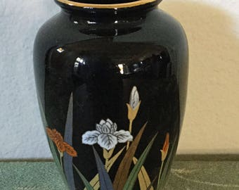 Pretty Otagiri OMC Japan black small vase with irises