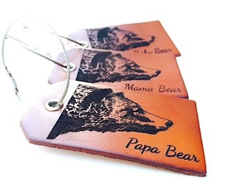Personalized Christmas Gifts, Custom Leather Luggage Tag, Bear, Gifts For Him, Family, Travel Gift, Baggage Tag,