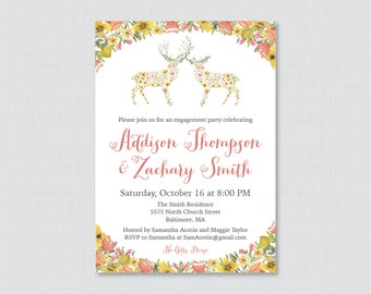 Woodland Engagement Party Invitation Printable or Printed - Whimsical Floral Deer Engagement Party Invitations - Flower Party Invites 0022
