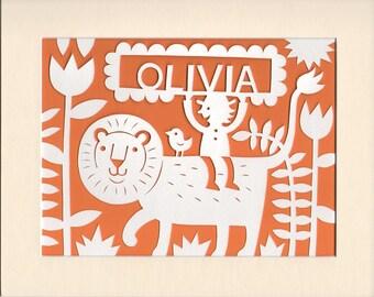 Baby Name Gift, Personalised  Friendly Lion Papercut, Jungle Nursery Decor,  Nursery Ideas, Baby Name Art, Kid's Room Decor