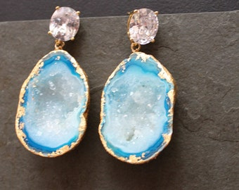 Aegan Sea. Large Blue Druzy Earrings. CZ Gold Plated Post. One of a Kind.