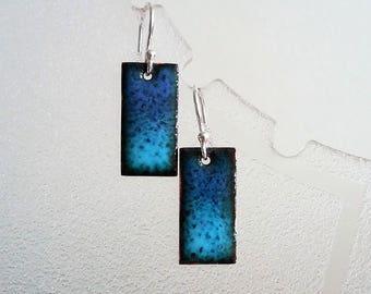 Blue ombre earrings in enamelled copper E32
